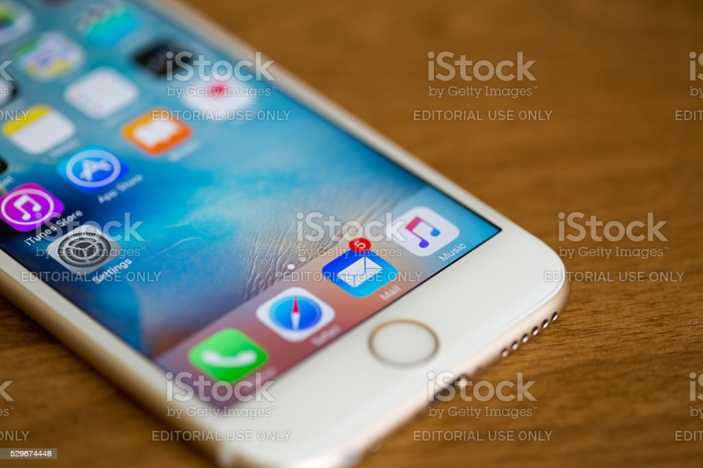 E-mail application on iPhone 6S Screen stock photo