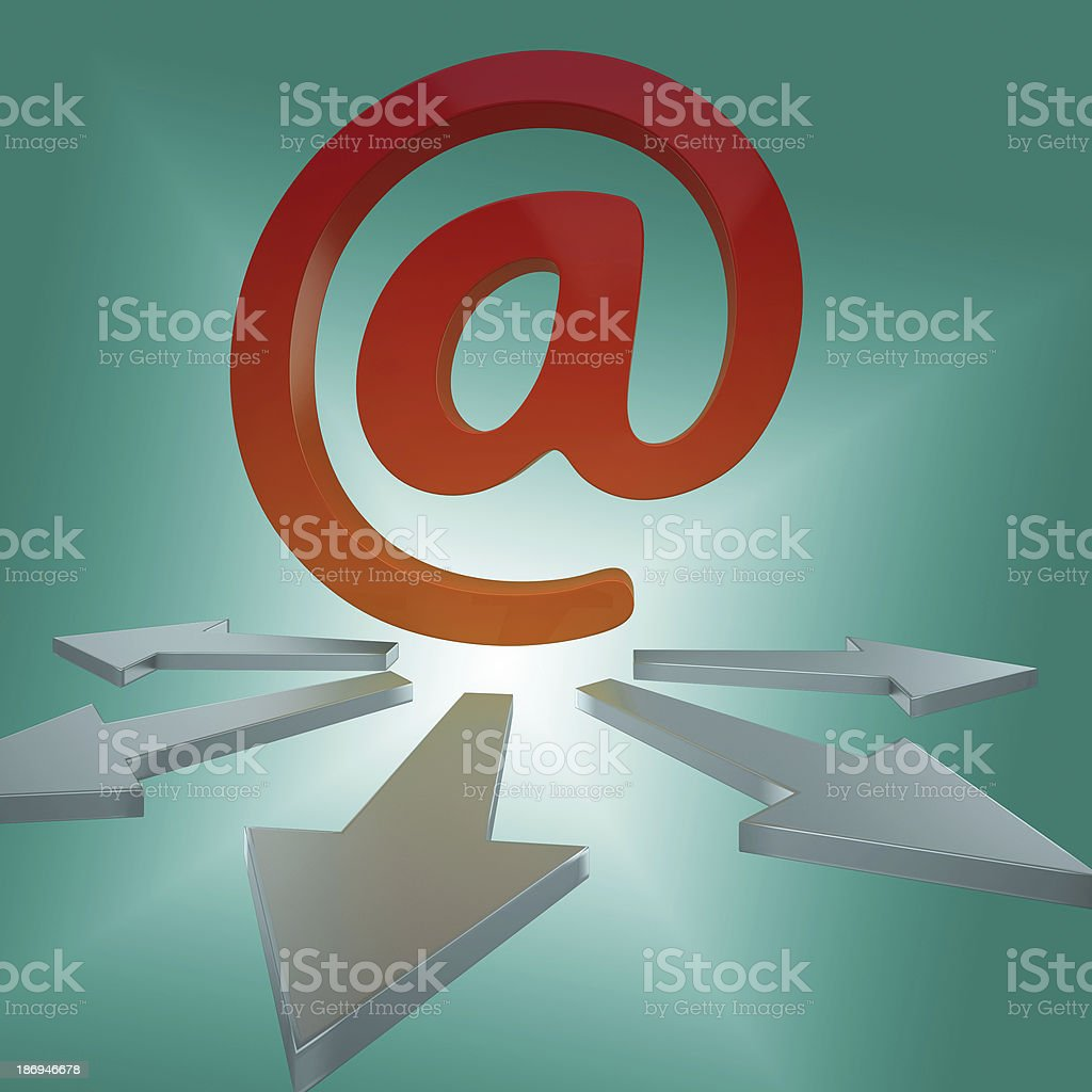 Email Arrows Shows Online Letters To Customers stock photo