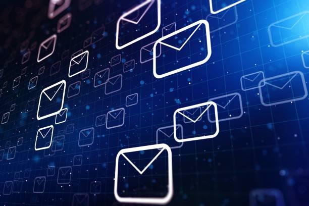 e-mail-hintergrundkonzept auf blauem hintergrund. 3d-rendering - feedback stock-fotos und bilder