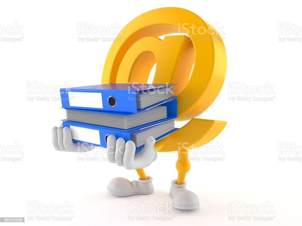 E-mail character carrying ring binders stock photo