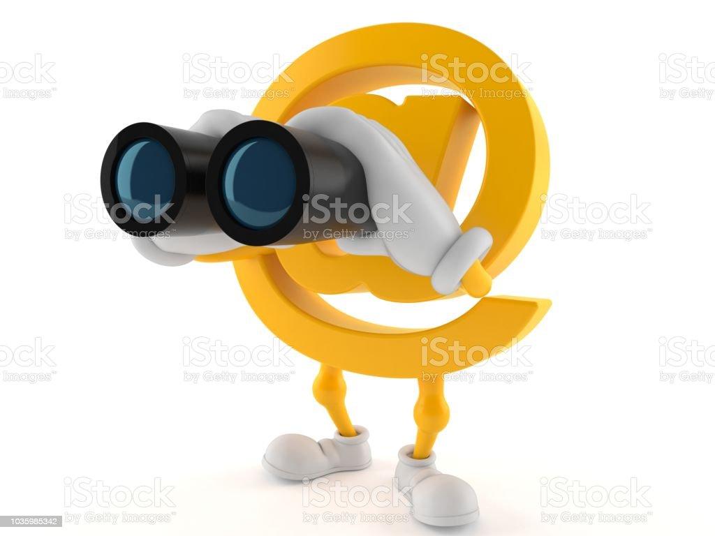 E-mail character looking through binoculars stock photo