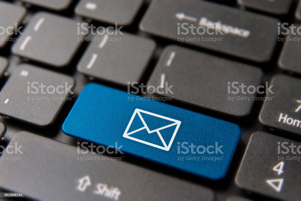Email computer button for business contact mail stock photo
