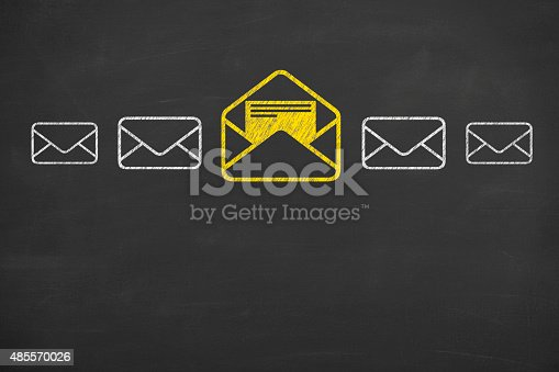 istock Email Concept Drawing Work on Blackboard 485570026