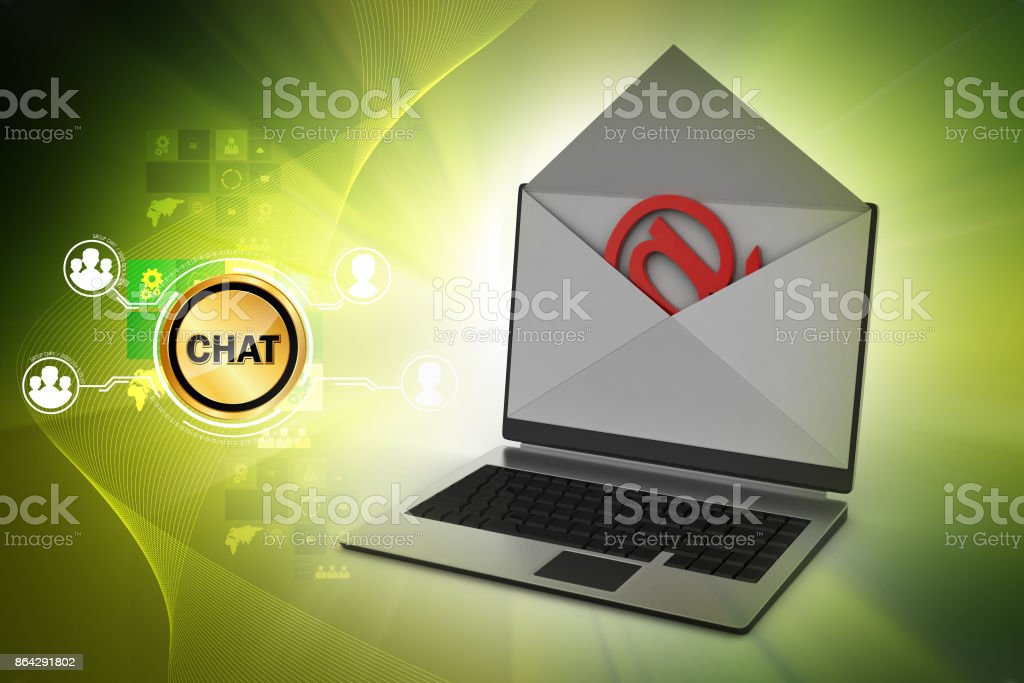 E-mail concept. Modern Laptop and envelope royalty-free stock photo
