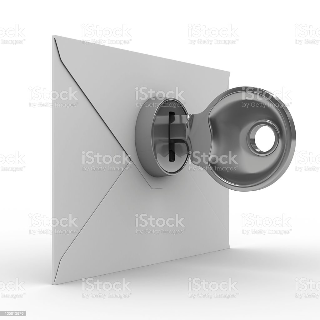 E-mail concept on white background. Isolated 3D image royalty-free stock photo