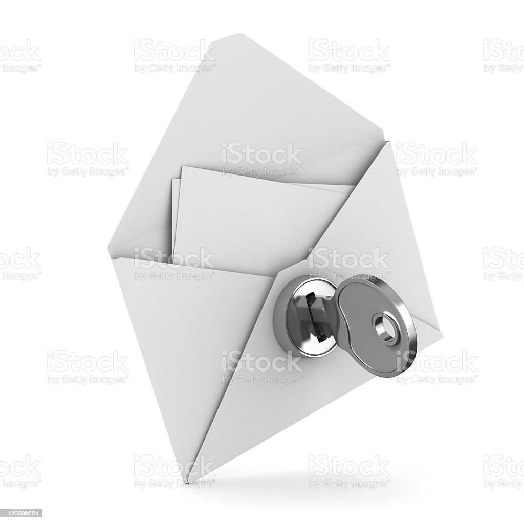 E-mail concept on white background. Isolated 3D image stock photo