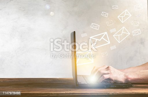Email concept with using laptop on a table