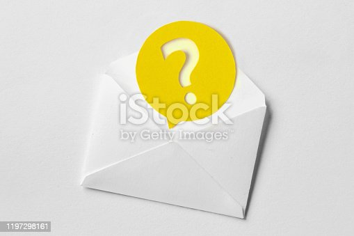 istock Email envelope with question mark speech bubble on white background 1197298161