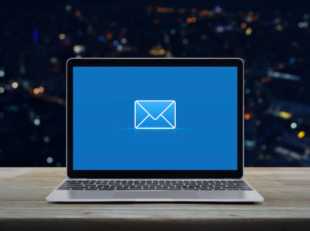 email flat icon, Business contact us online concept stock photo