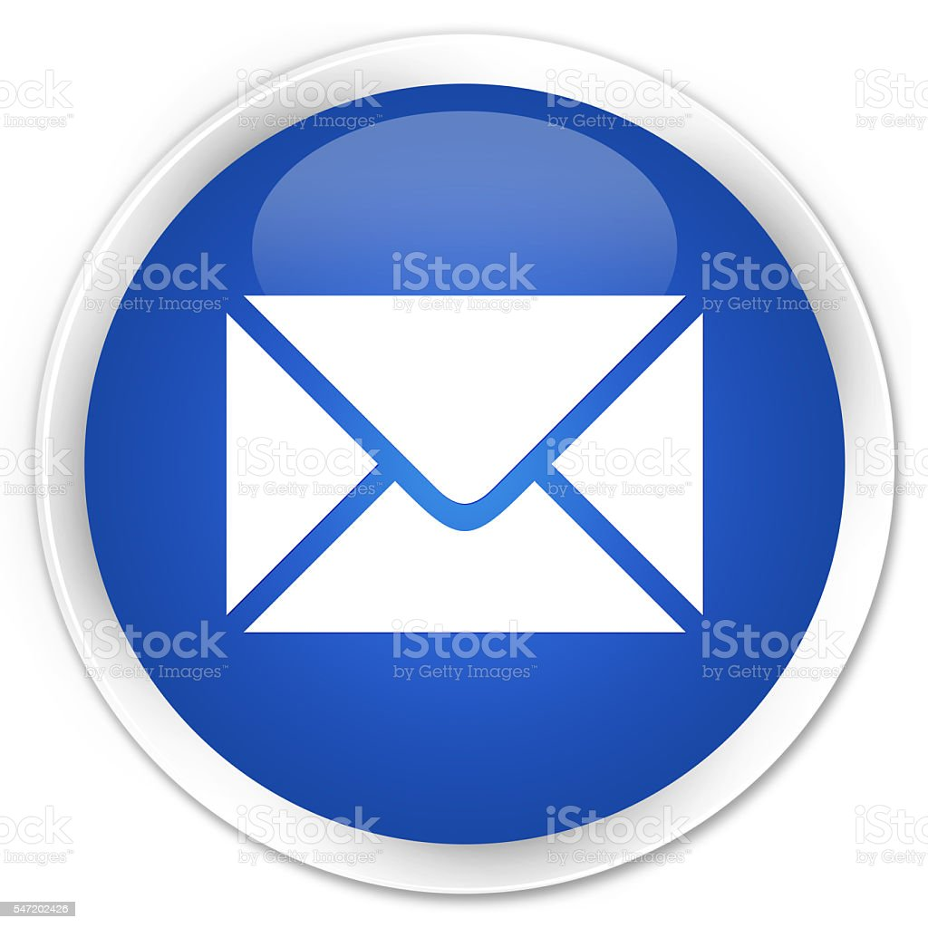 Email icon blue glossy round button stock photo
