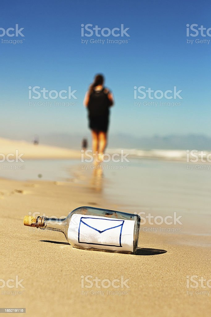 Email icon message in bottle lies ignored on beach royalty-free stock photo