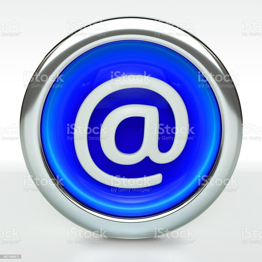 Email Icon on Blue Button with Metallic Rim - Photo