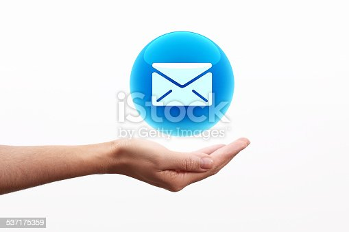 istock Email icon on hand 537175359
