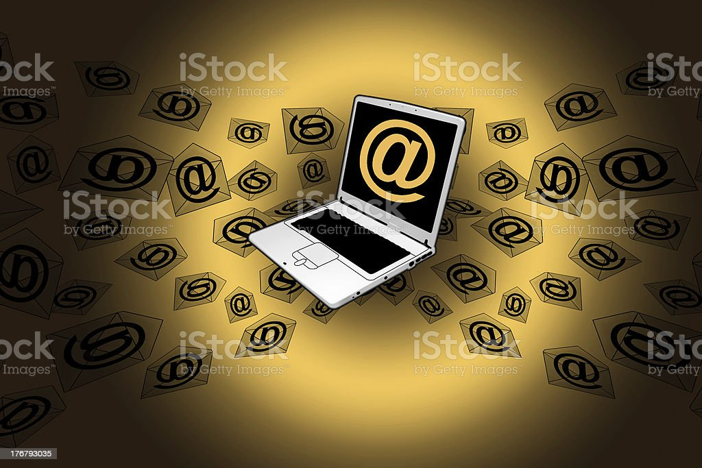 3D E-Mail Laptop Golden Flying Messages royalty-free stock photo