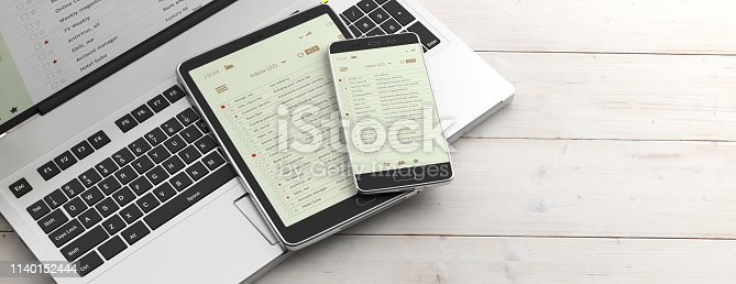 Email and electronic devices. Email lists on smartphone and tablet screens, computer keyboard and office desk, banner. 3d illustration