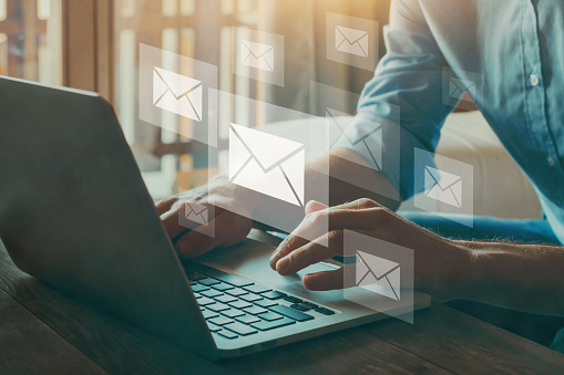 email marketing concept, company sending many e-mails or digital newsletter to customers