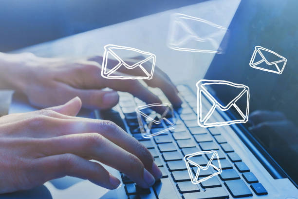 Email marketing concept. Sending newsletter. Email marketing concept. Sending newsletter. Hands typing on keyboard as background. newsletter stock pictures, royalty-free photos & images