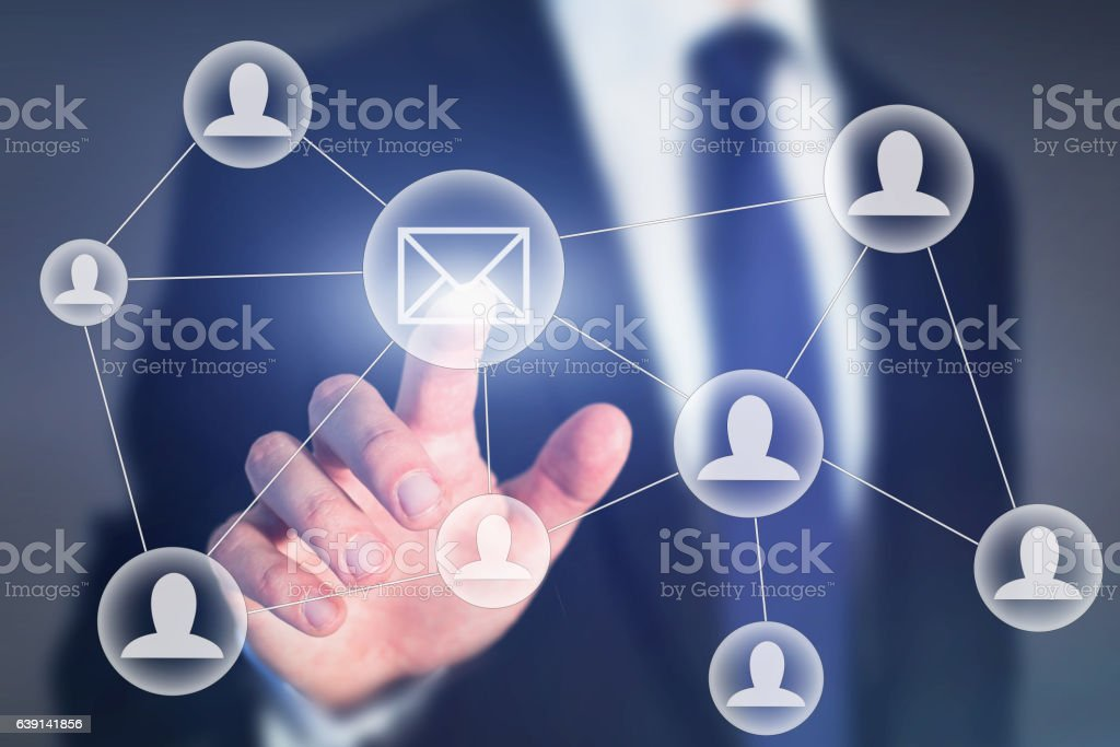 email marketing or business communication concept stock photo