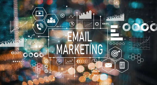 Email marketing with blurred city lights