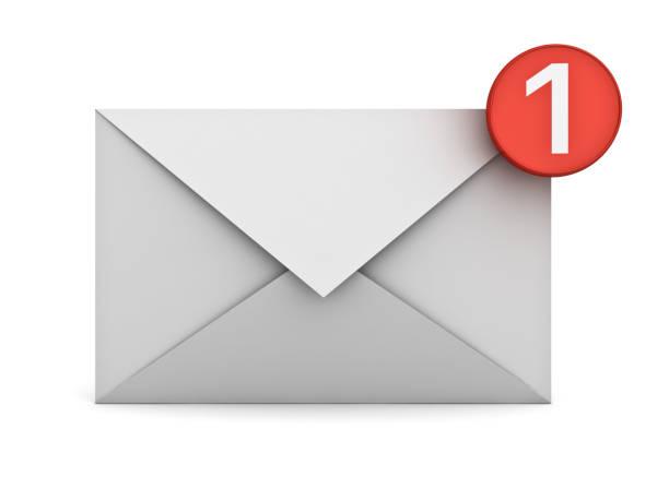 email notification one new email message in the inbox concept isolated on white background with shadow. 3d rendering - wyślij zdjęcia i obrazy z banku zdjęć