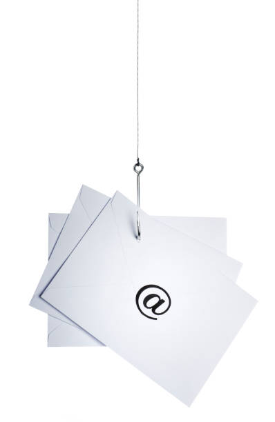 Email Phishing This is a conceptual photo relating to email spam and phishing. The background is a pure white.Click on the links below to view lightboxes. fishing line stock pictures, royalty-free photos & images