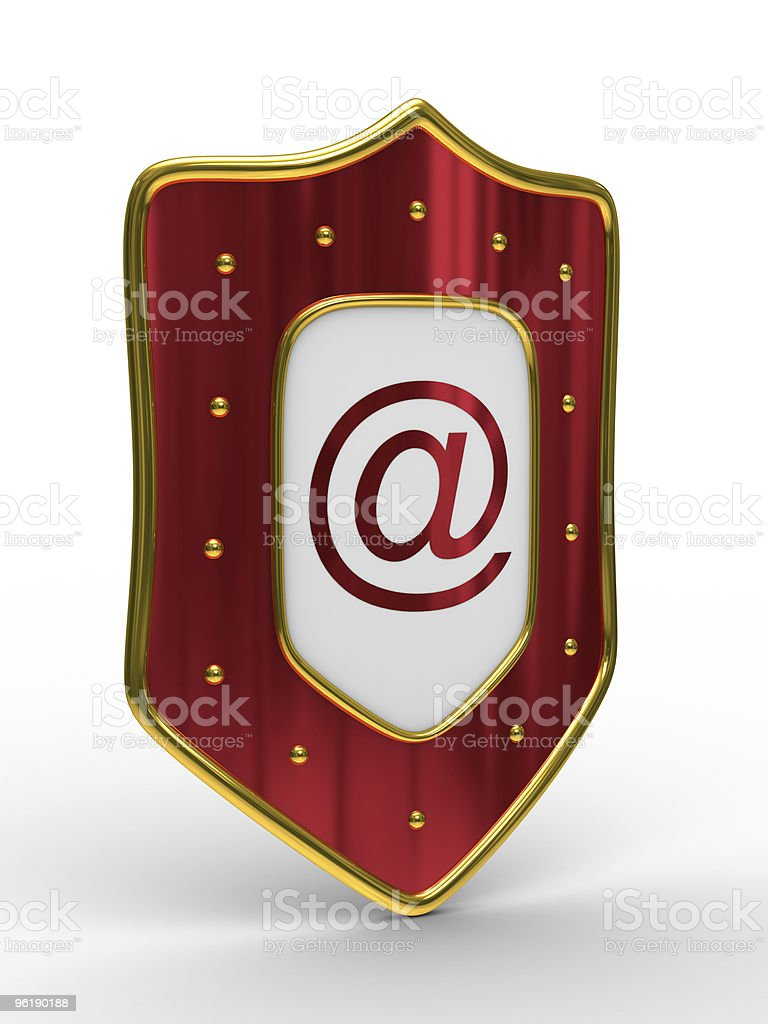 E-mail protection on white background. Isolated 3D image royalty-free stock photo