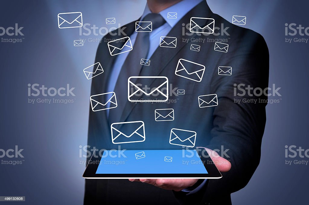 Email Sending on Tablet stock photo