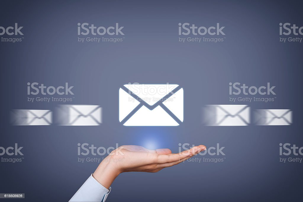Email Sending Over Human Hand stock photo