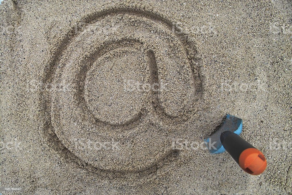 email sign in the sand stock photo