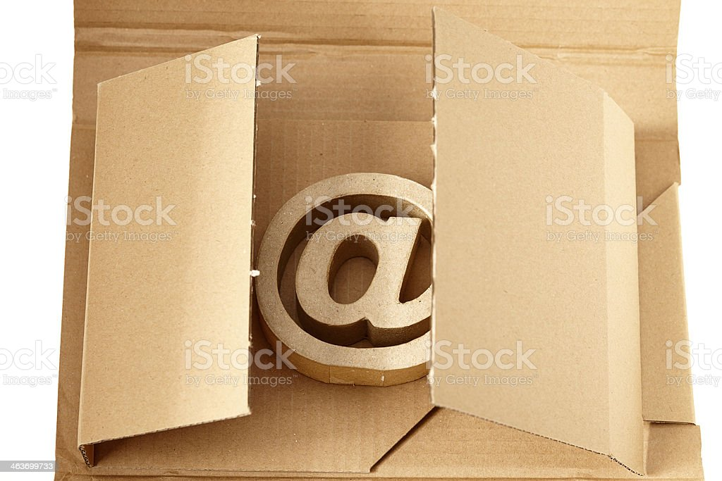 Email sign lying in box stock photo