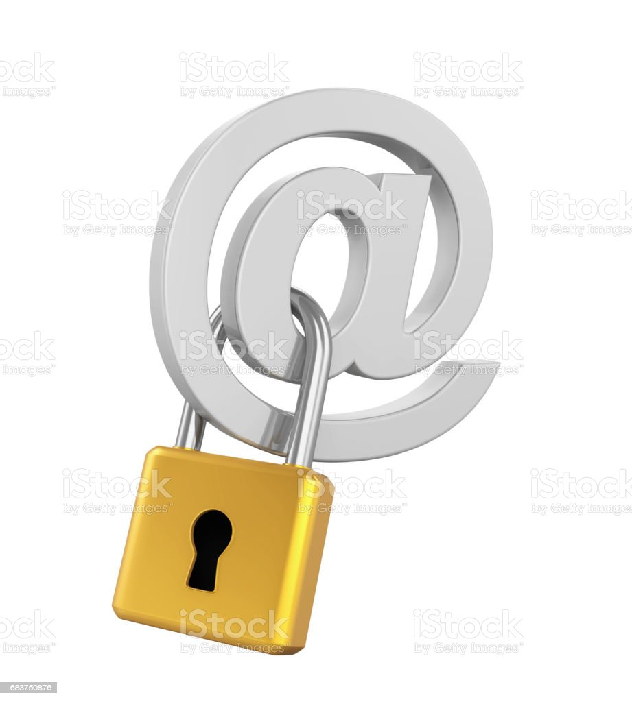 Email Sign Padlock Isolated stock photo