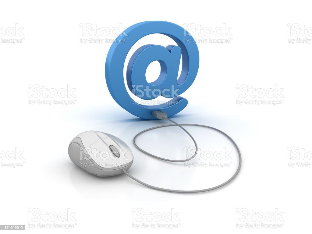Email symbole et souris d'ordinateur - rendu 3D - Photo