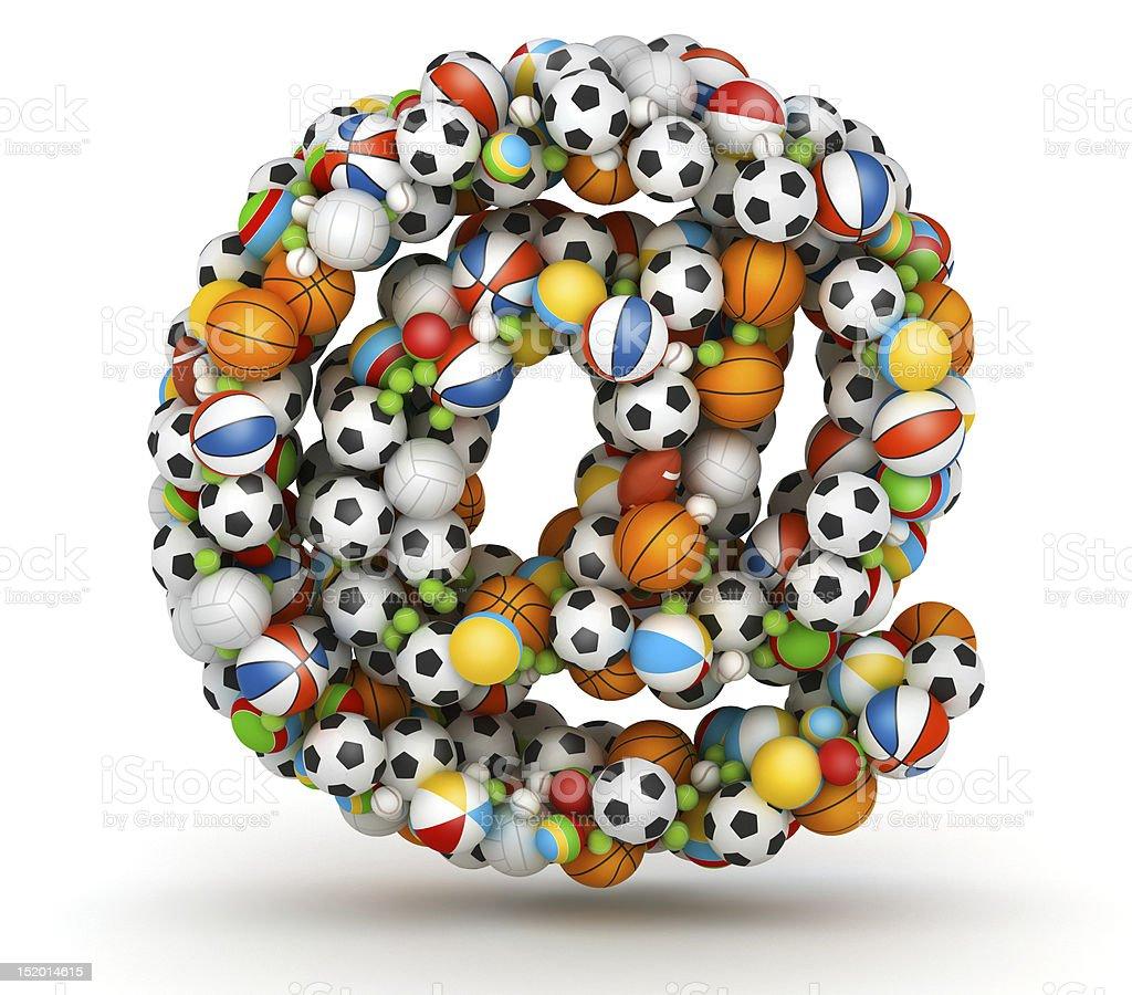 E-mail symbol , at-sign gaming balls alphabet stock photo