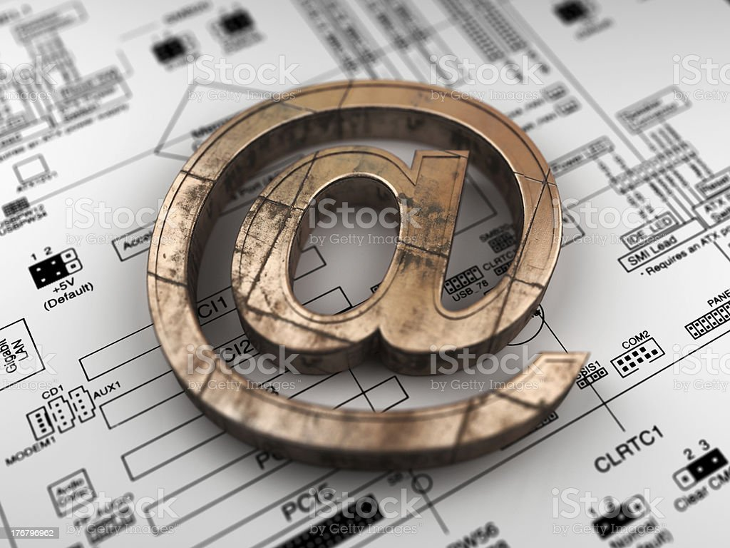 E-Mail  Symbol  from copper on the electronic circuit stock photo