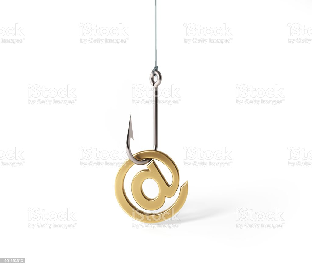 E-Mail Symbol Hooked By A Fishing Hook stock photo