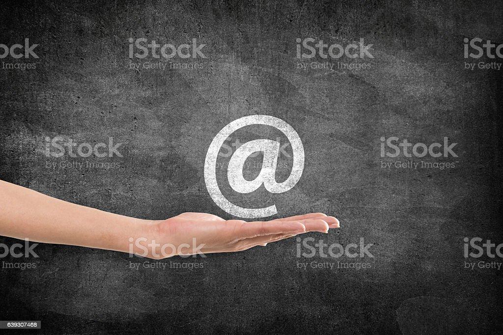 email symbol icon on blackboard - Photo