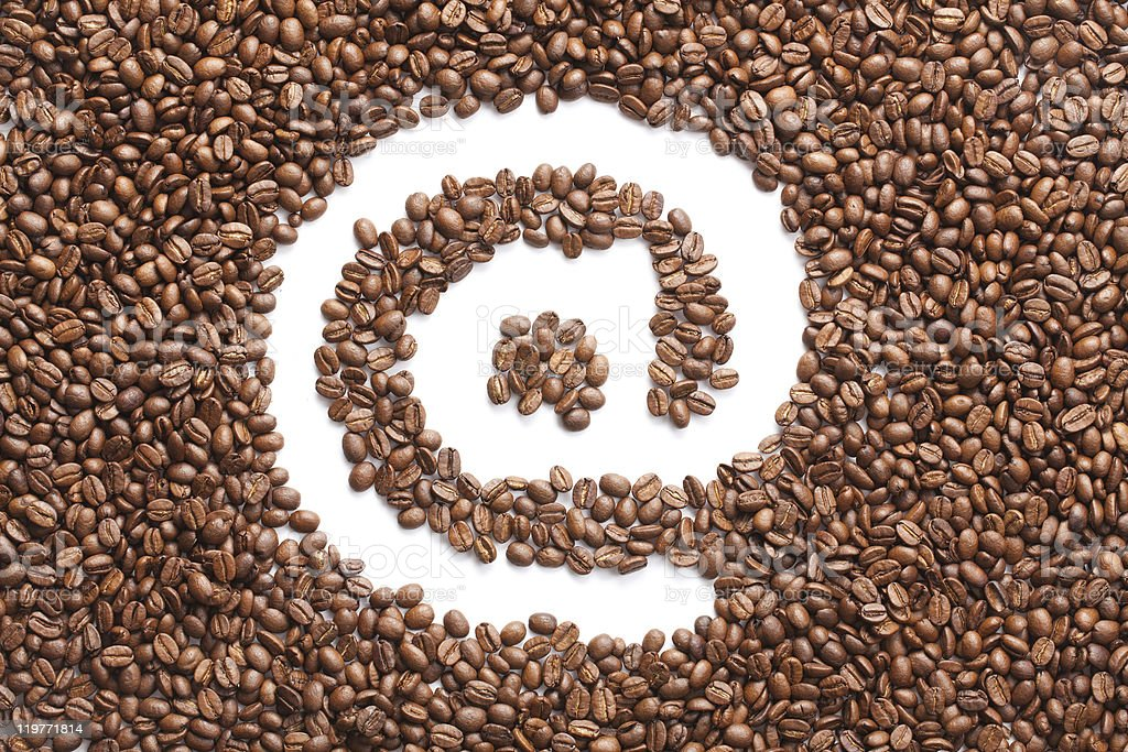 email symbol made from coffee beans royalty-free stock photo