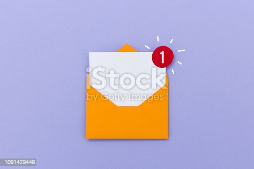 istock E-Mail symbol with empty letter in envelope with notification icon 1091429446