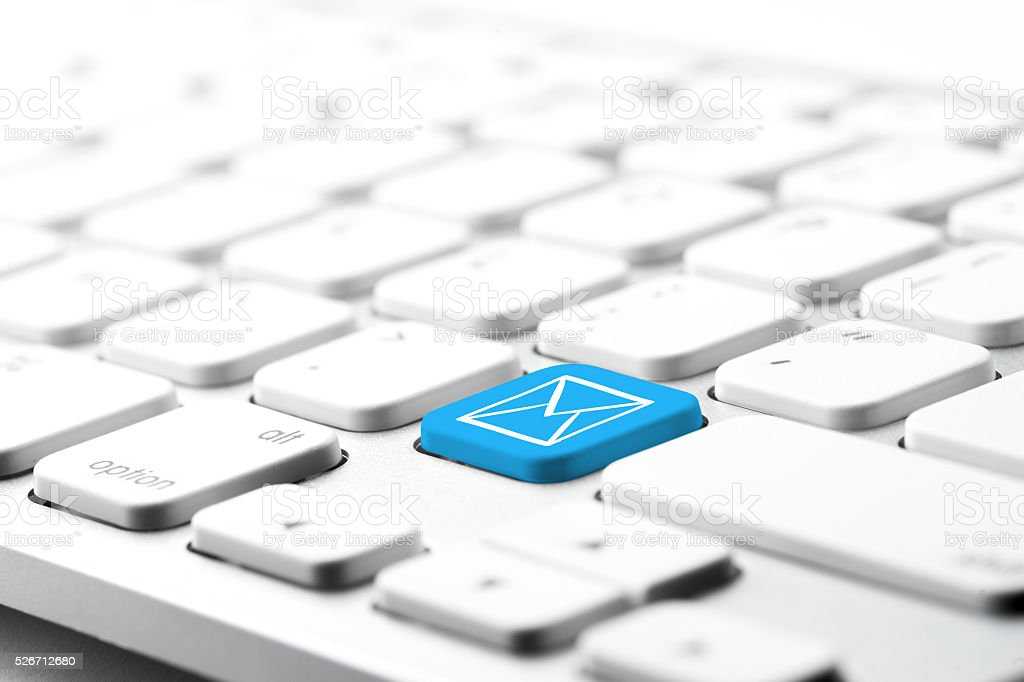 Email ,telephone, & contact us icon on computer keyboard stock photo