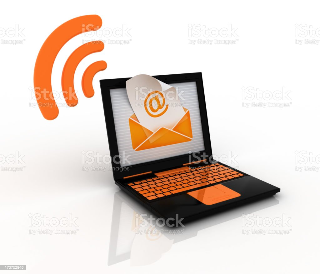 email via wireless network royalty-free stock photo