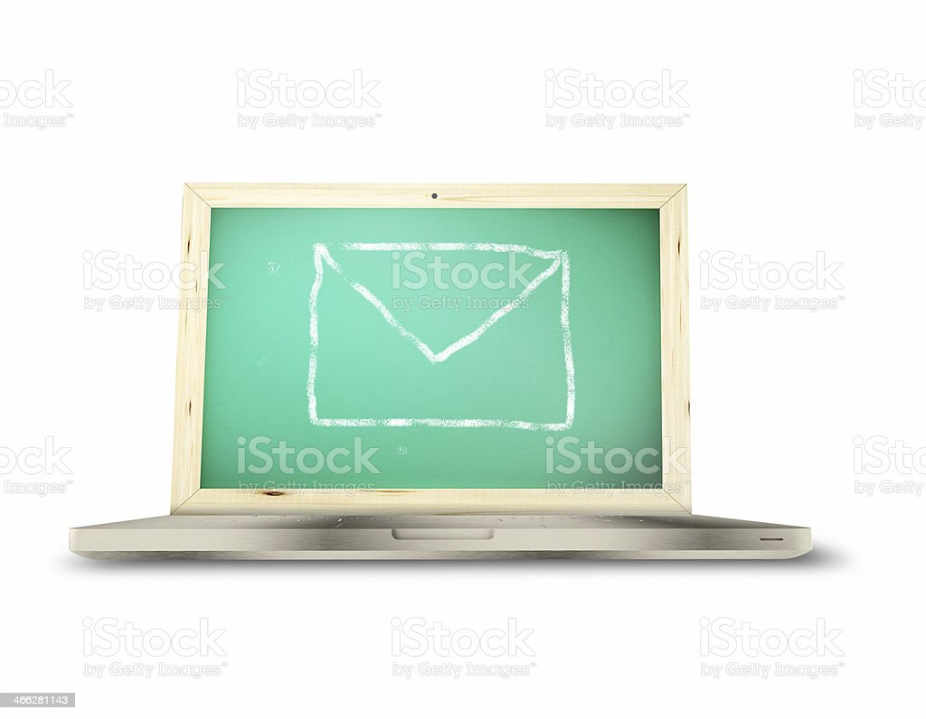 e-mail with laptop on white background. royalty-free stock photo