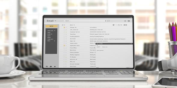 한 책상 사무실 배경에 고립 된 노트북 화면에 이메일 3 차원 일러스트 레이 션 0명에 대한 스톡 사진 및 기타 이미지