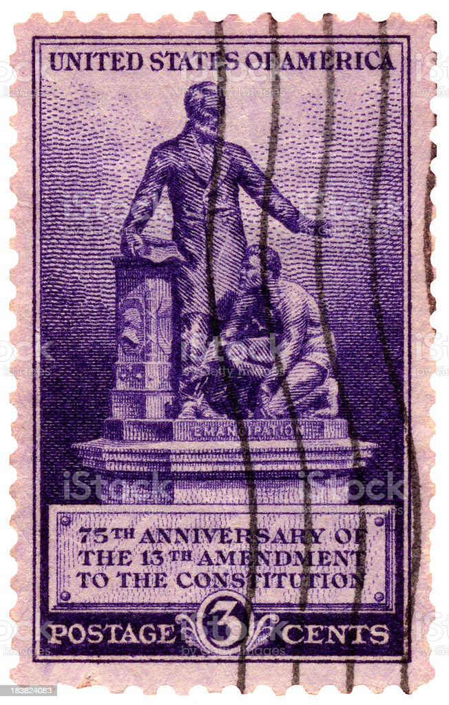 Emancipation: 13th Constitution Amedment Postage Stamp stock photo