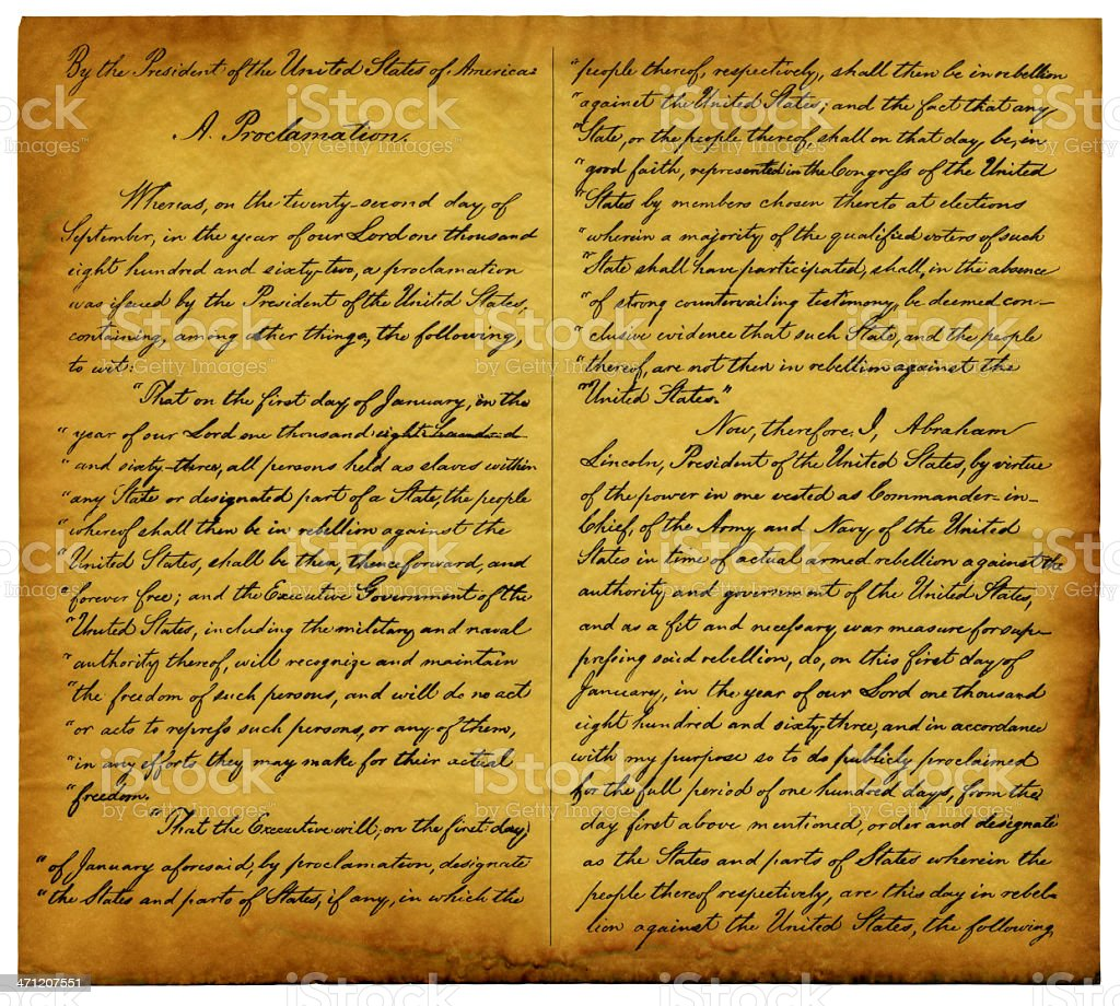 Emancipation Proclamation Replica Stock Photo & More ...
