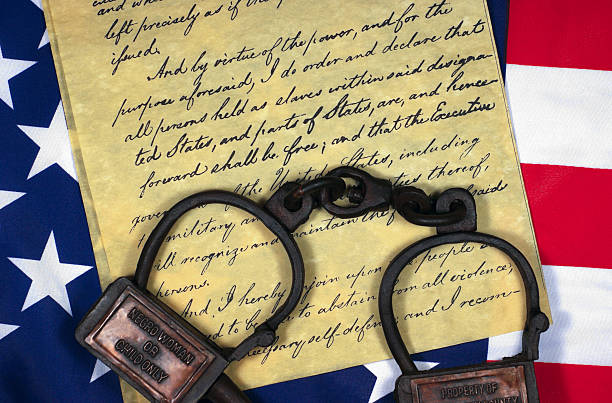 Emancipation Proclamation with Shackles stock photo
