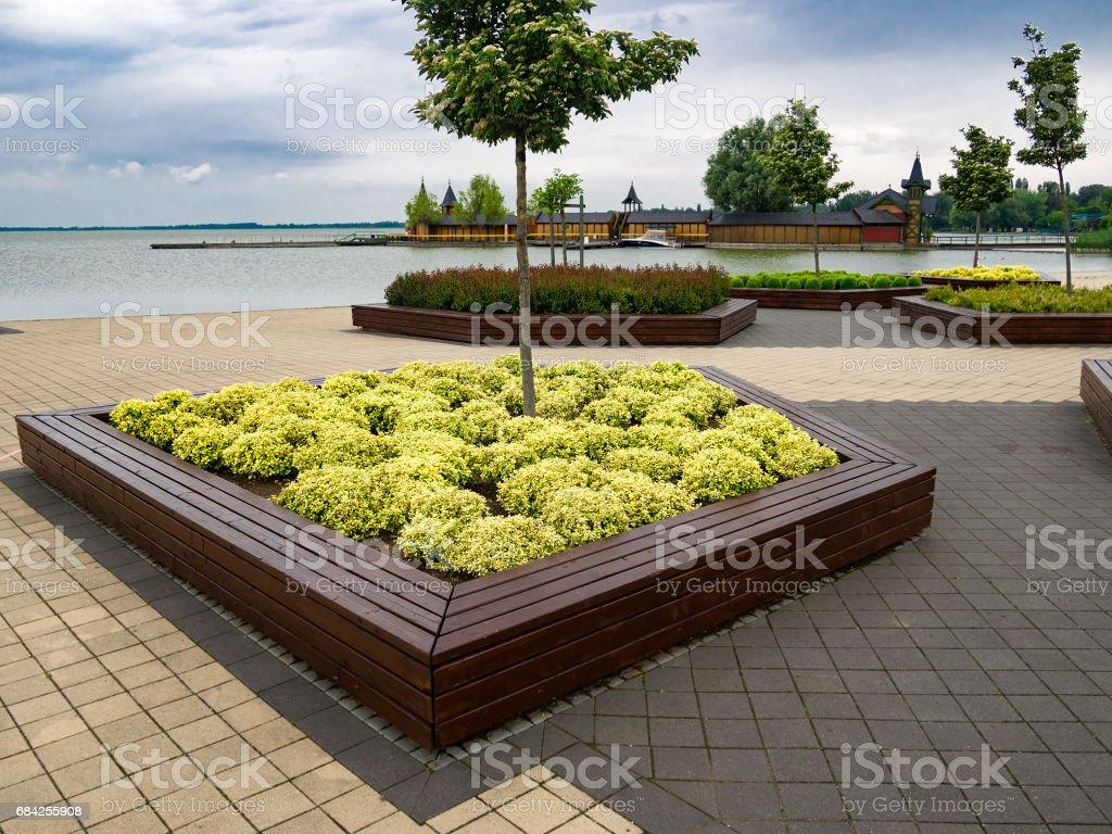 Embankment along of Lake Balaton in Keszthely, Hungary. stock photo