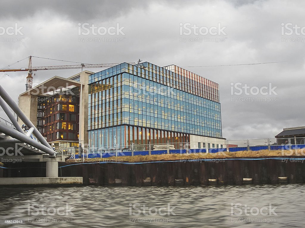 Embankment and modern buildings  in Amsterdam. Netherlands stock photo