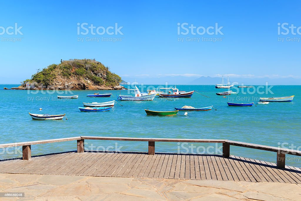 Embankment , Boats, yachts, sea in Armacao dos Buzios, Brazil stock photo