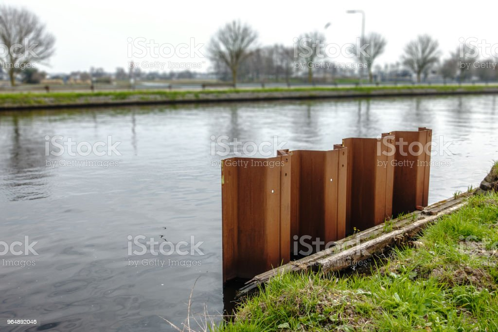 Embankment Building site with steel retaining wall royalty-free stock photo