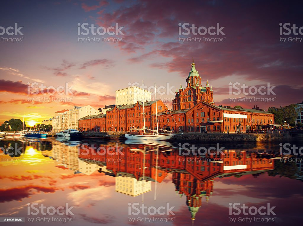 Embankment In Helsinki At Summer Evening, Finland. stock photo